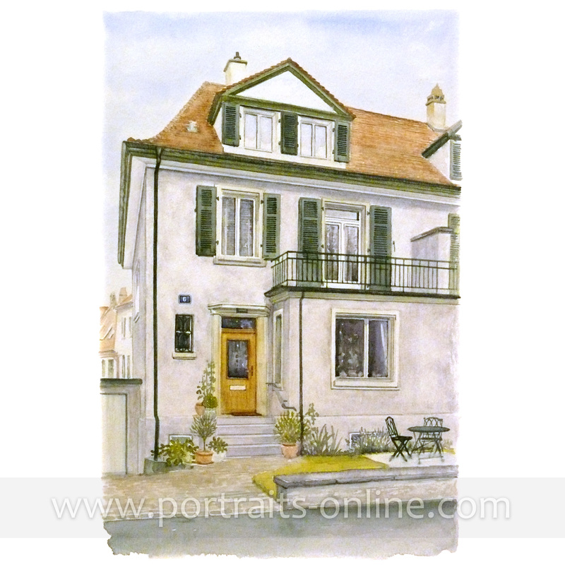 Custom watercolour painting of a house in Zurich