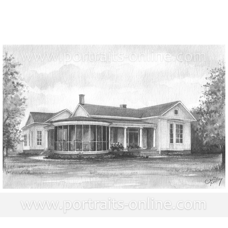 Custom house portrait drawing of an American house drawn from old damaged photos