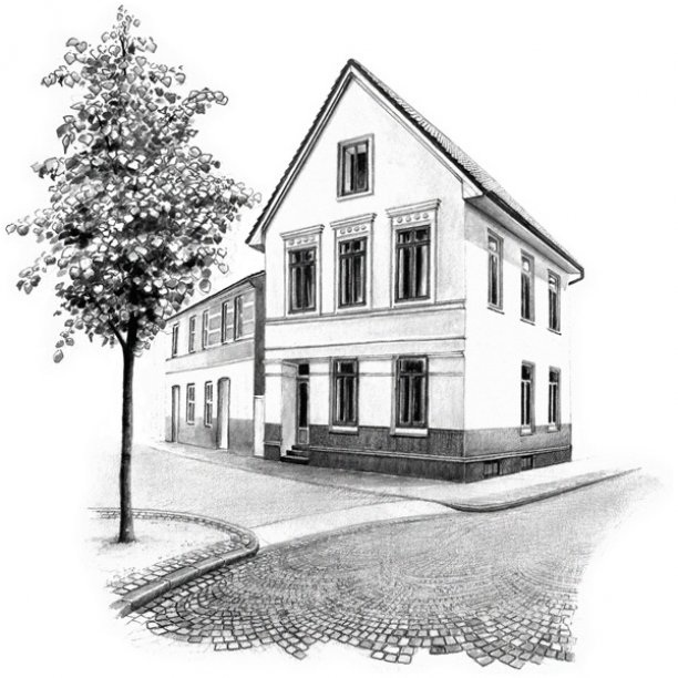 pencil drawing of a house and cobbled street