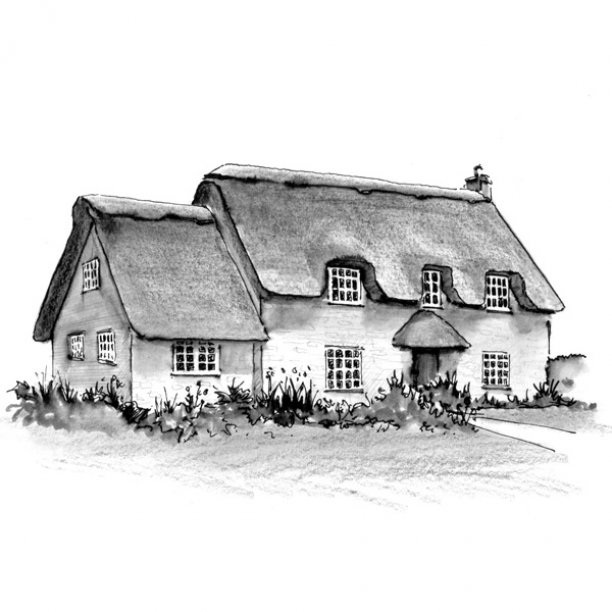 Pen and ink sketch of an old thatched cottage