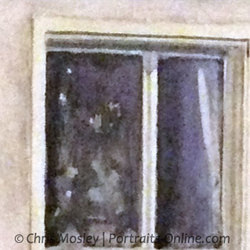 Watercolour detail of window pane