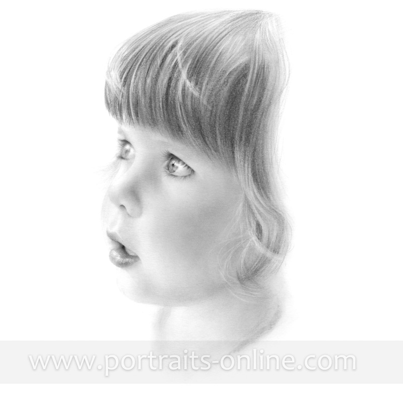 Custom pencil portrait drawing of a child
