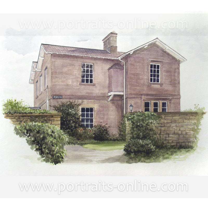 Watercolour painting of an old Scottish house